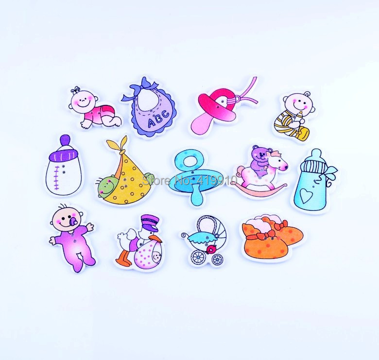 Гаджет  Free shipping -65pcs Random Mixed 2 Holes Pattern Lovely Baby Wood Sewing Buttons Scrapbooking D2742 None Дом и Сад