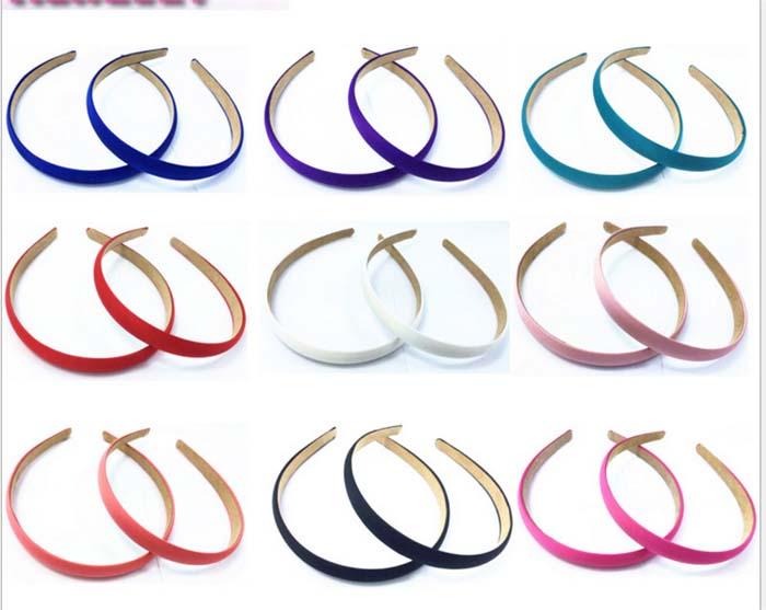 Satin Headband Hair Band Alice Band narrow Hairband bow hoop1.5cm Wide(China (Mainland))