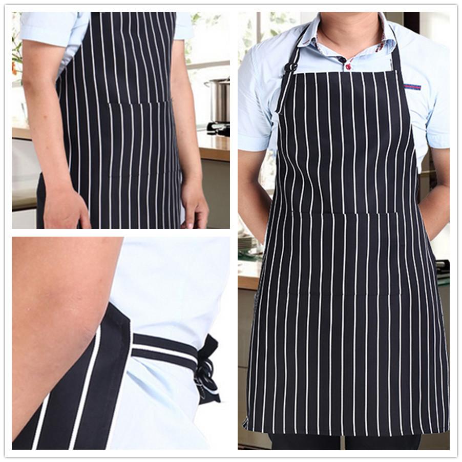 Adjustable Adult Black Stripe Bib Apron with 2 Pockets Chef Waiter Kitchen Cook Kitchen Tool(China (Mainland))