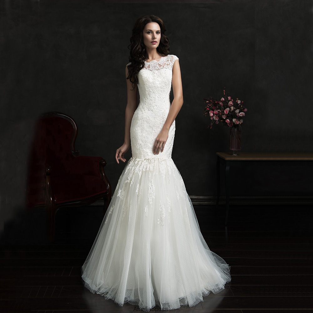 Lace Wedding Dress With Cap Sleeves Style D1919 : Ivory lace illusion cap sleeves removable skirt mermaid bridal wedding