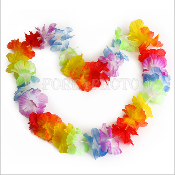 10pcs/lot Hawaiian leis Party Supplies Garland Necklace Colorful Fancy Dress Party Hawaii Beach Fun(China (Mainland))