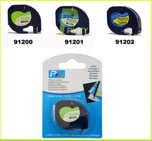 Free shipping 12mm*4m 91200 black on white compatible DYMO LetraTag Tape Label Tape label paper  label printer ribbons