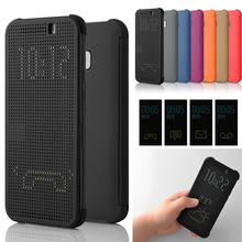 Cell Phone Case Flip Shockproof Auto Sleep Wake Silicone TPU Ultra Slim Dot View Smart Protective Cover For HTC One M8 M9 Plus(China (Mainland))