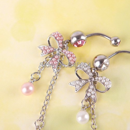 New Jewelry Stainless Steel Butterfly Bow Dangle Navel Belly Ring Body Piercing #384 - Kevin & Caroline store