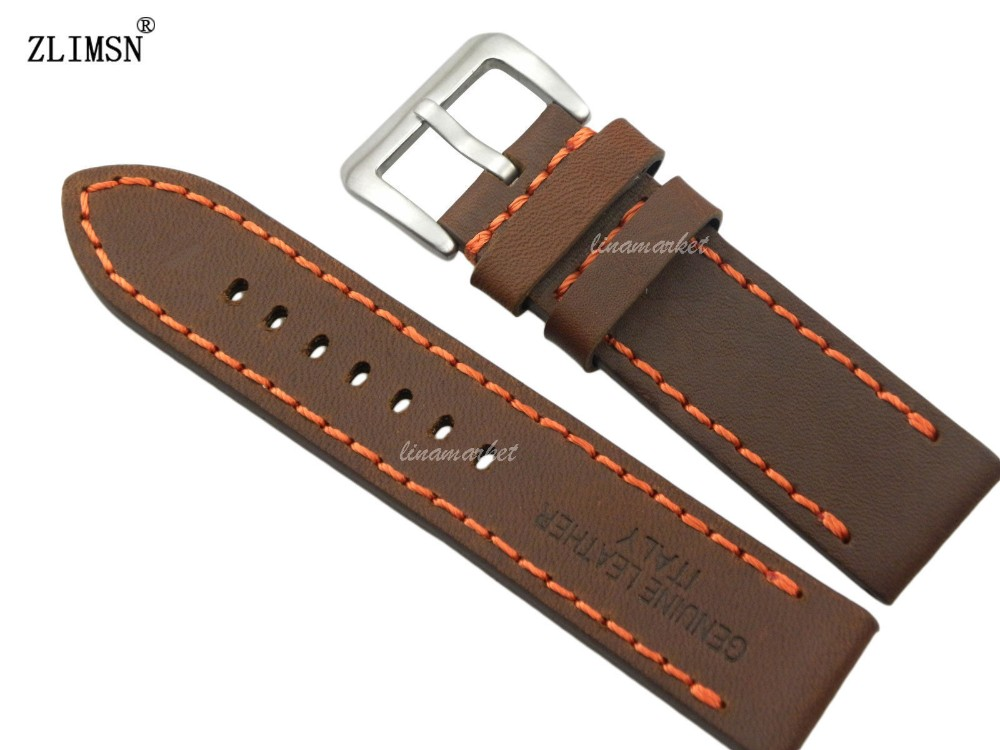 24mm New Men Brown 100% Genuine Leather Thick Orange stitched Watch bands strap Mens Watches Band Leather Watchband Watchbands(China (Mainland))
