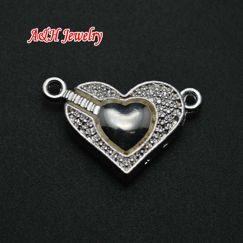 New Arrival Heart Shape Magnet Claps Pendants Silver Plated Fashion Women Jewelry Making Connectors DIY Findings 20pc/lot <br><br>Aliexpress