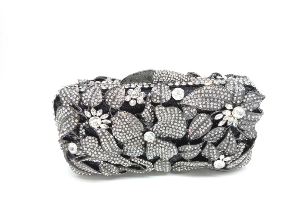 Gift Box Lady Black Appliques Crystal Evening Purse Bridal Party Clutch Bag Women Diamond Hollow Out Wedding Bags Evening Bag<br><br>Aliexpress