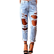 Ripped Jeans With Holes Woman Workout Trousers Ladies Denim Shorts Skinny Womens Jean Pants Sexy Disco Leggings New 2016 Capris(China (Mainland))