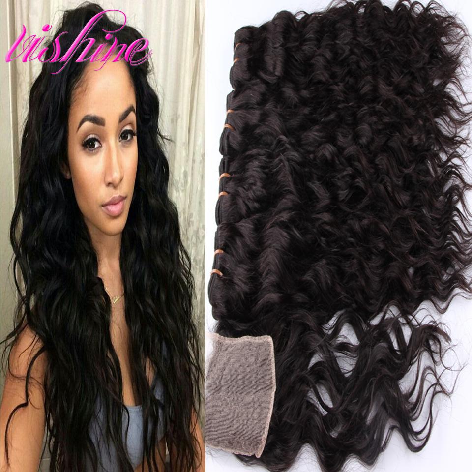 Здесь можно купить  Brazilian Water Wave Lace Closure With Hair Bundles 4 PCs Lot Virgin Brazilian Human Hair With Closure Weave Iwish Hair Products  Волосы и аксессуары