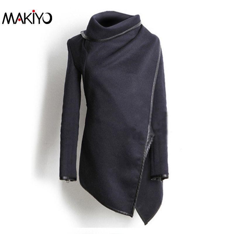 MAKIYO 2016 New Winter Woolen Coat Long Sleeve Irregular Gray Navy Wool Jacket Coats Slim Zipper Overcoat(China (Mainland))