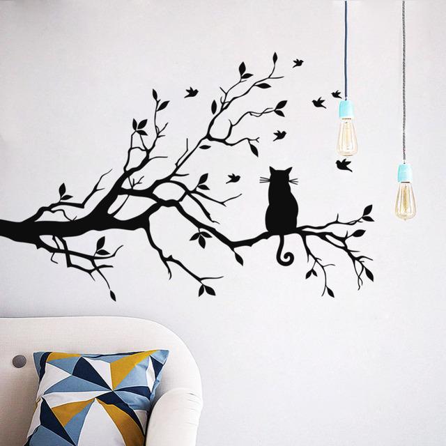 Кошка на ветке дерева птицы стикер стены дерево виниловых настенных наклеек Adesivi Murali стеклянной пленки наклейки оконные украшения дома стены искусства