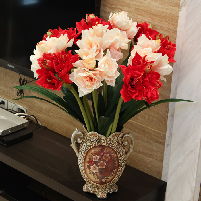 (10 pcs/lot) Free shipping Large Amaryllis artificial flower decoration flower for wedding decoration(China (Mainland))