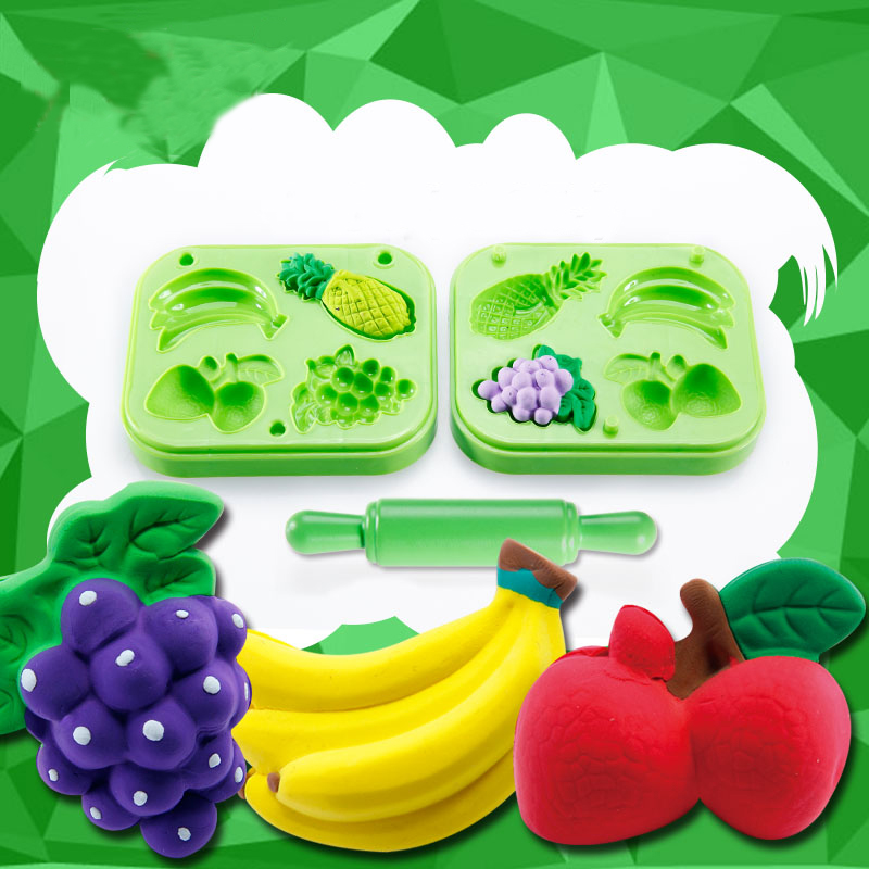 Fruit Set clay moulds 3 pieces color clay moulds deluxe set multi colors and styles super value play dough tools free shipping(China (Mainland))
