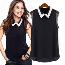 2014 Women Short Sleeve Chiffon Blouse Fashion Casual Sleeveless Patchwork Tulle Blouse Blusa Feminina Manga Curta(China (Mainland))