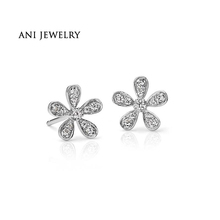 Buy ANI 14K White Gold Women Wedding Earrings 0.18 CT Certified I/SI2 Real Natural Diamond Flower Shape Stud Earrings Lady Jewelry for $301.99 in AliExpress store