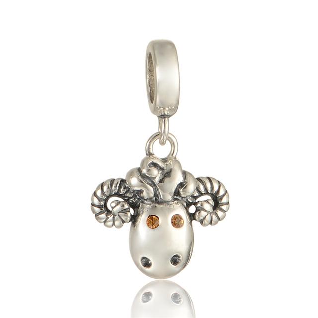 100% 925 - серебристо-ювелирные бусины кристалл глаза овец очарование подходят Chamilia пандора шарм браслеты 925 DIY