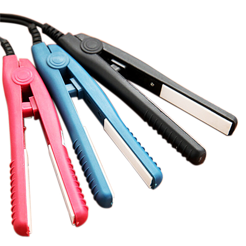 Portable Mini Pink Ceramic Electronic Hair Straightener Straight Iron Perm Splint 1046(China (Mainland))