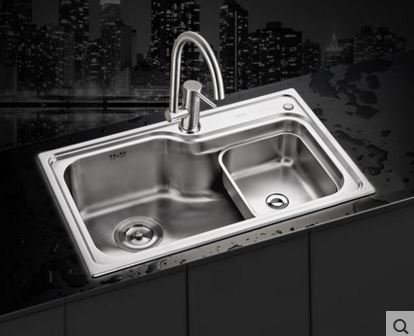 Free shipping lash double basin sink package lead-free 304 stainless steel kitchen faucet thickened vegetable washing basin(China (Mainland))