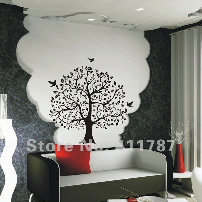 wohnzimmer wand muster:Large Tree Wall Decal Sticker