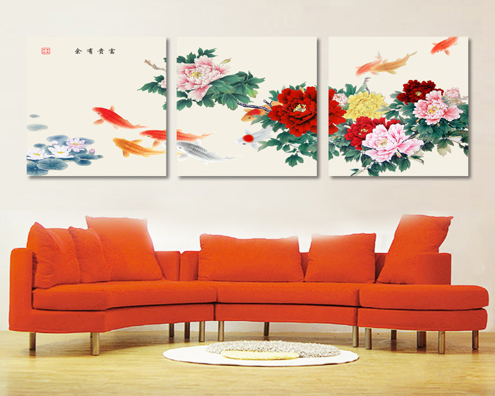 3 Piece Canvas Wall Art Koi Fish Wall Art Paintings For