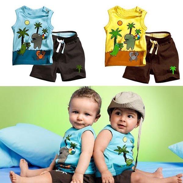 Малышей наряды для мальчиков кокосовой пальмы картины без рукавов + брюки 0-3Y