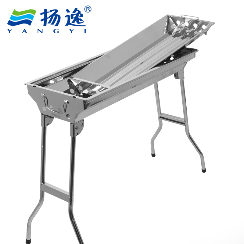 Parrilla Charcoal Bbq Barbeque Yi Stainless Folding Portable Outdoor Grill Large Household Charcoal Barbecue Stove Thickening(China (Mainland))