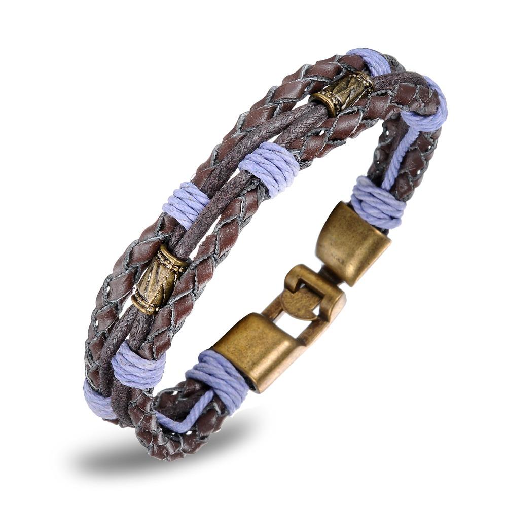 Pulseira 2015 Vintage Handmade Genuine Leather Anchor Design Clasp Bracelets For Men Fashion