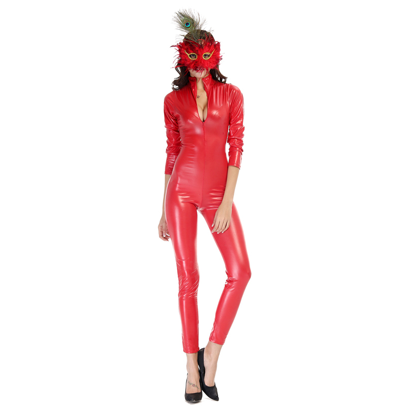 2015 New Arrival Women's Red PU Motorcycle Clothing Sexy Boby Suit Dance Club DS Clothes Sexy Produxts(China (Mainland))