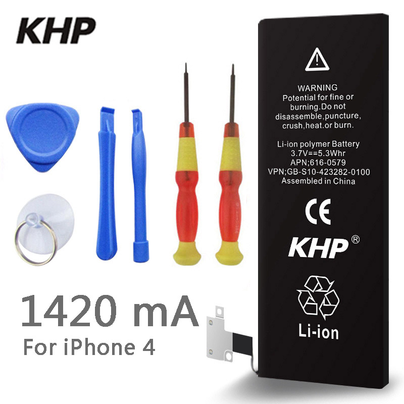 100% Original Brand KHP Phone Battery For iphone 4 Real Capacity 1420mAh With Machine Tools Kit Mobile Batteries(China (Mainland))