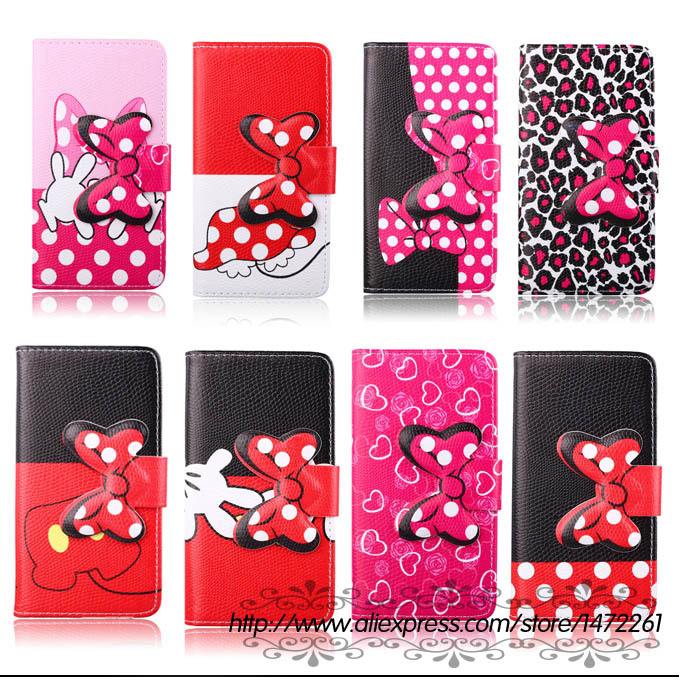 Hot Selling lovely kitty bowknot Polka Dot PU Leather Case LG Optimus G3 Mini G3S Beat D722 D725 D728 D724