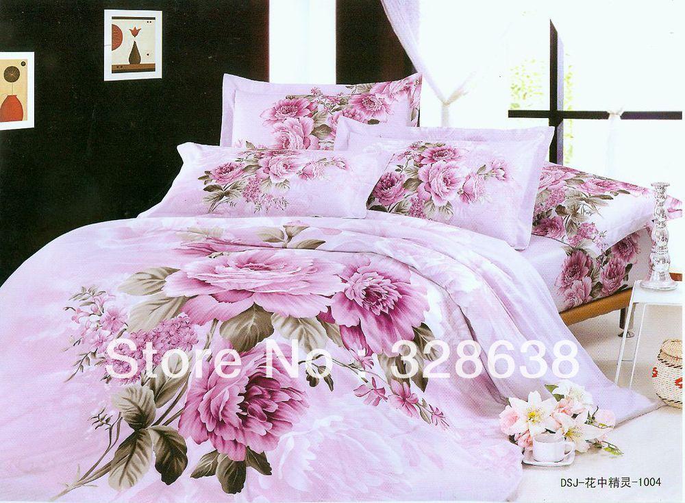 3d bed covers pink bed linen hot comforter sets full king for Bride kitchen queen set