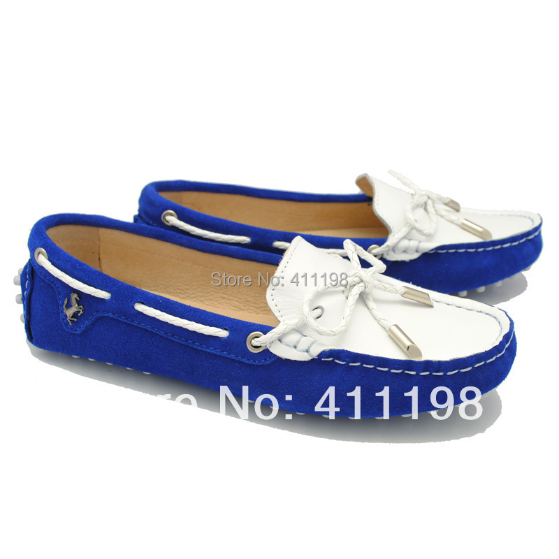 Women's Peas soft driving slip-on patchwork Loafers lady flat striped bow shoes Moccasins F960 100% leather Blue 5 colors china(China (Mainland))