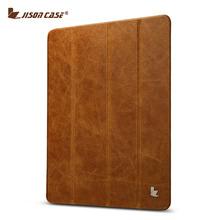 Jisoncase Luxury Genuine Leather Stand Case For iPad 2 3 4 Slim Smart Folding Folio Cover Wake up / sleep Function(China (Mainland))