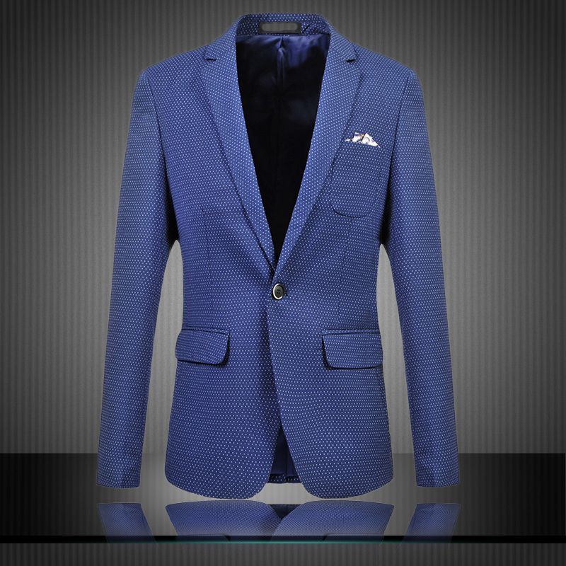 2015 Spring Autumn Fashion Dot Mens Suit Outwear Coat Casual Slim Stylish fit One Button Pockets Blazer For Men US/EU Size
