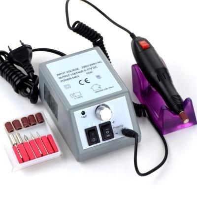 Electric Nail Art Drill Manicure Set File Grey Nail Pen Machine Set Kit With EU Plug Free Shipping(China (Mainland))