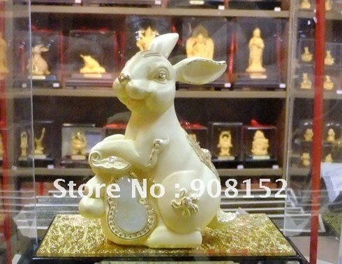 Factory price-- 24K millipede cast gold rabbit ornaments--New house,Business,Birthday, Personal collection, 12 zodiac gifts