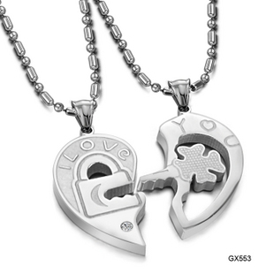 Lock & Key Matching Set Silver Tone 316L Stainless Steel Couple Puzzle Love Heart Pendant Necklace Fashion Women Men Jewelry(China (Mainland))