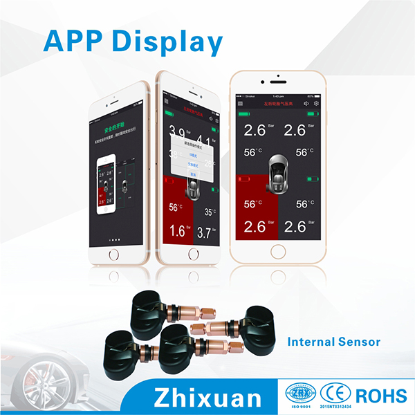 TN500 2015 new hot sale Mobile phone APP bluetooth display tire pressure alarm for car tyres  with 4 built-in sensors  free ship<br><br>Aliexpress