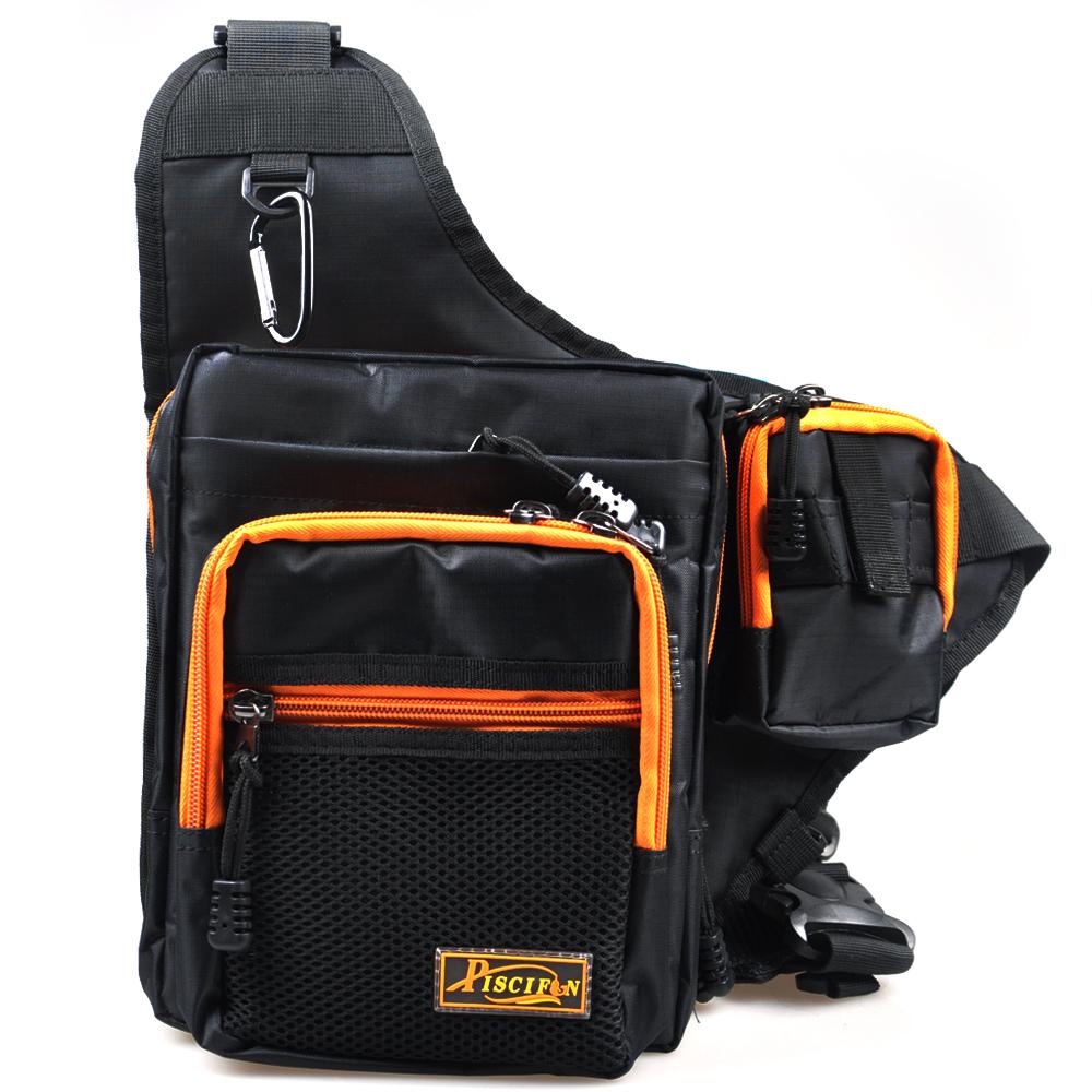Piscifun fishing tackle bag black 420d pvc multi purpose for Fishing backpack tackle bag