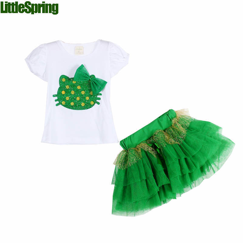 Retail Top selling! Girls clothing sets hello design girls tutu skirts kids summer - baby_mart store