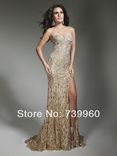 Fashion 2014 luxury tube top long design Beaded Sequins Sheath Column Gold Side Slit Sexy Formal Sweetheart Neck Evening Gowns(China (Mainland))