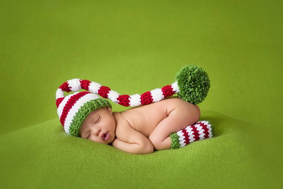 Newborn ELF Hat, Baby Pixie Elf Knitted Christmas Stocking Caps Crochet Photography Props Baby long tails hat with leg warmers(China (Mainland))