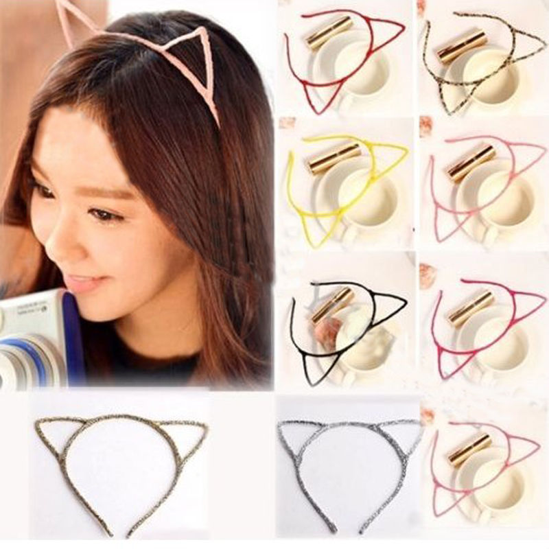 Women Lady Girls Cat Ears Headband Hair Sexy Head Band Self Photo Prop 6 Colors hair accessories free shipping(China (Mainland))