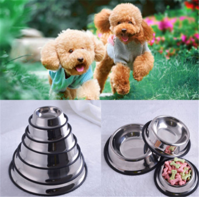 1X Stainless Steel Pet Dog Cat Puppy Travel Feeding Feeder Food Bowl Water Dish