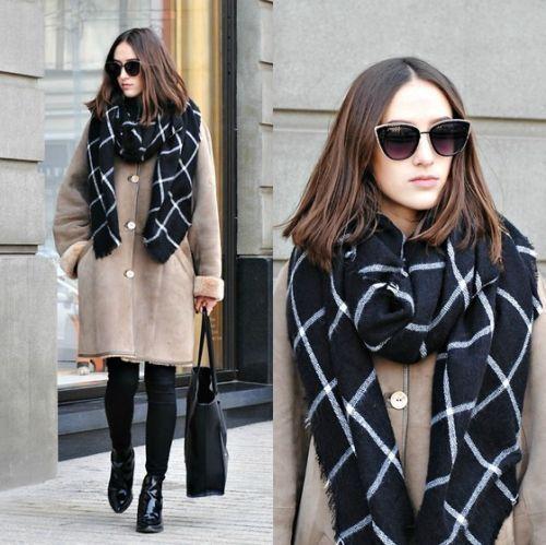 Новый леди женщины одеяло черный белый плед уютные проверено шотландка шарф оборачивает шали