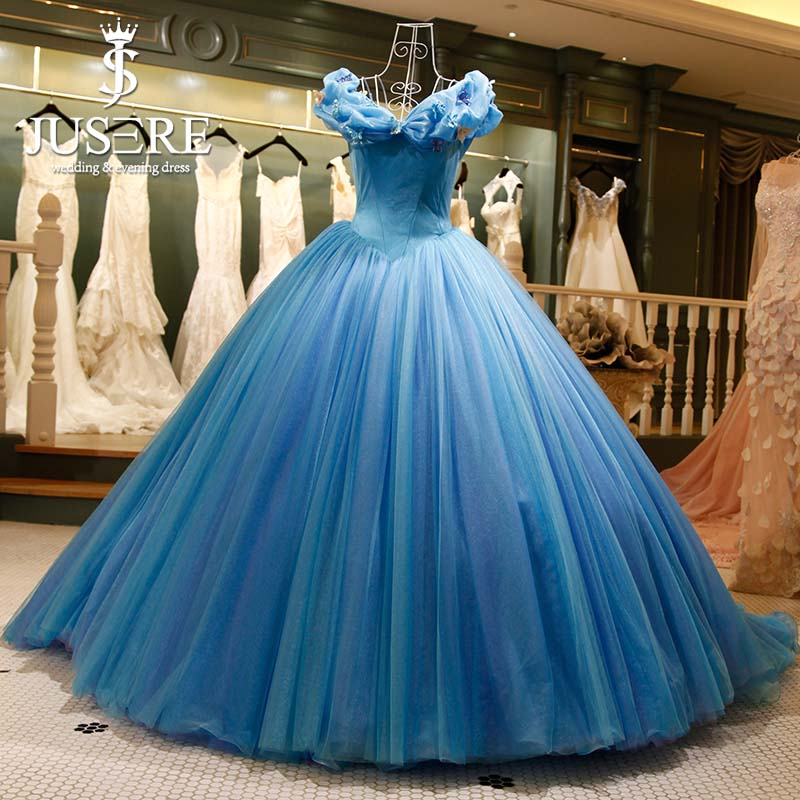 Embroidery Butterfly Puffy Cinderella Blue Formal Elegant