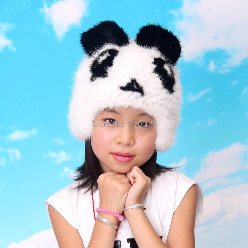 Скидки на 2016New осень зима норки шляпа родитель-ребенок шапочка ребенок панда шляпу общие меховая шапка зимняя шапка мило роскошный натуральный мех Норки сгустите