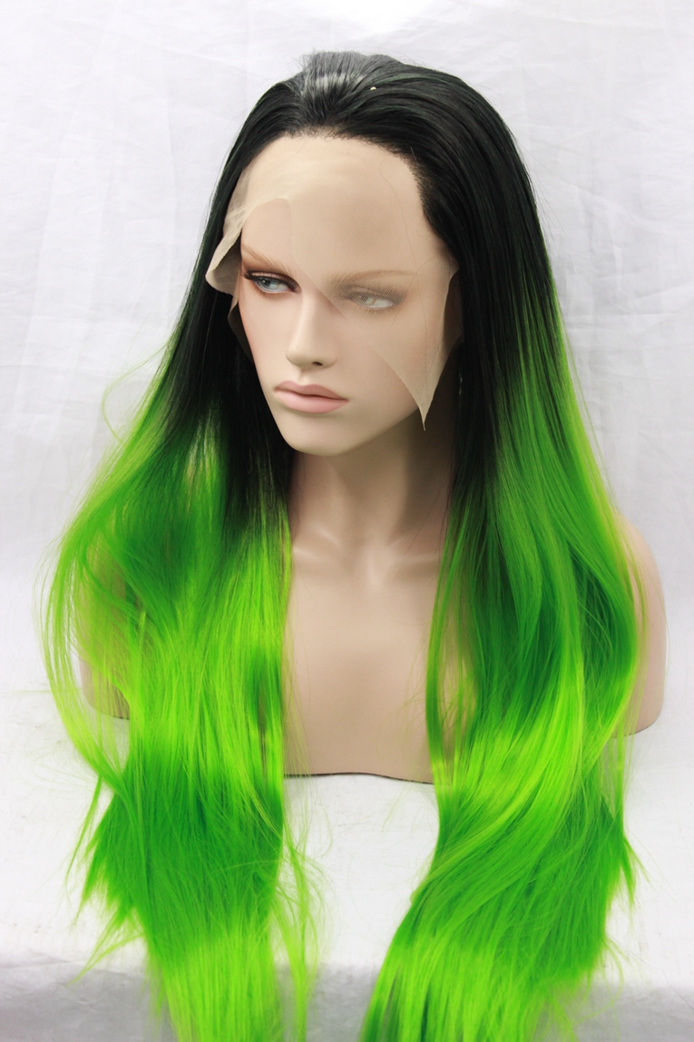 Ombre hair glueless lace front wig baby hair 1b#/green free part lace 3-4inch perruque lace front synthetic medium length 22inch(China (Mainland))