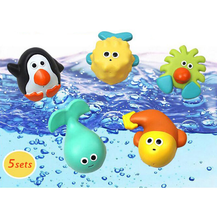 5Pcs/set Jolly baby 0-12 Months bath toy Animal baby toy Cute Soft Rubber Float Pool Bath for Kids & Baby Baby Wash Bath(China (Mainland))