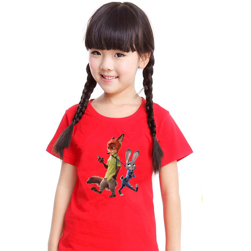 Amapo 2016 new style girls clothing Judy Nick high quality 3D pattern print for zootopia T-shirt cotton boys cloth size 3-14T(China (Mainland))